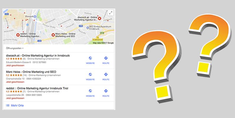 Wie schaffen Sie es in die Karten-Treffer bei Google unter lokalen Suchanfragen?