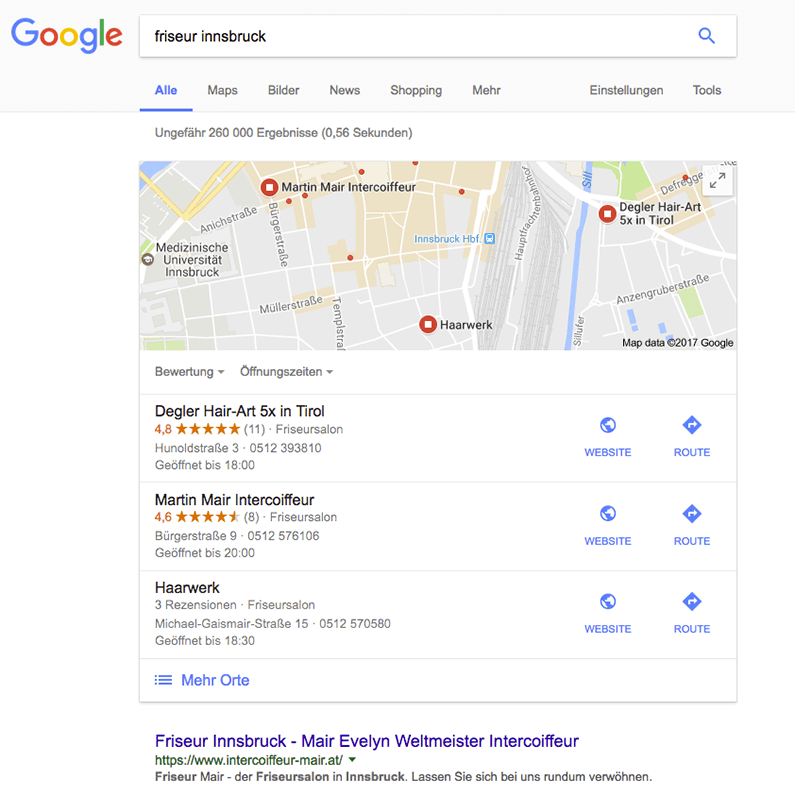 """Google Suche """"Friseur Innsbruck"""" Screenshot"""