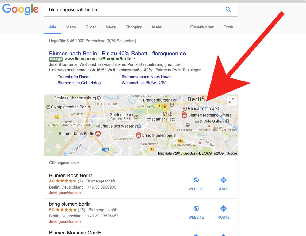 Kartentreffer-Beispiel in der Google-Suche